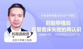 刘湘源教授发性流产专题讲座五 胚胎移植后,反复着床失败的再认识